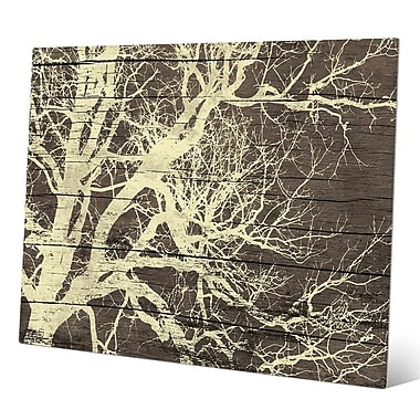 Click Wall Art 'Tree Silhouette on Wood' Graphic Art; 11'' H x 14'' W x 0.04'' D
