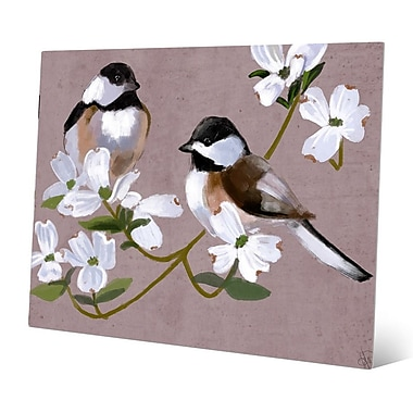 Click Wall Art 'Two Chickadees' Painting Print; 20'' H x 30'' W x 0.04'' D