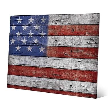 Click Wall Art 'USA Flag Flaked' Graphic Art; 20'' H x 24'' W x 0.04'' D
