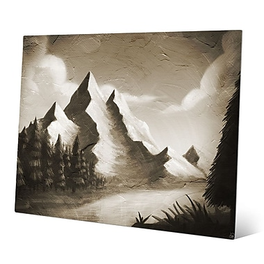 Click Wall Art 'Vintage Mountain by the River' Painting Print; 20'' H x 24'' W x 0.04'' D