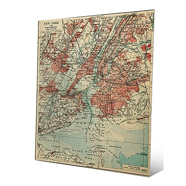 Click Wall Art 'Vintage New York Map' Graphic Art; 30'' H x 20'' W x 0.04'' D