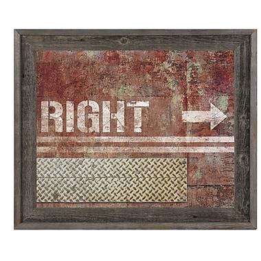 Click Wall Art 'Grungy Rust Right Arrow' Framed Graphic Art; 23.5'' H x 27.5'' W x 1'' D