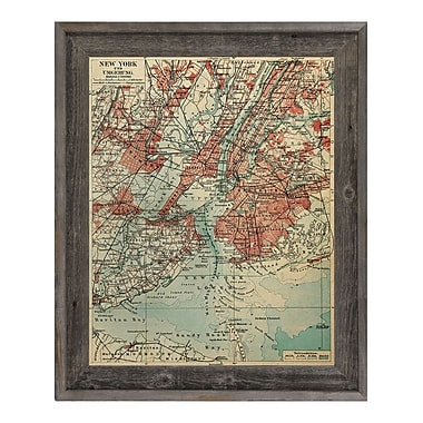 Click Wall Art 'Vintage New York Map' Framed Graphic Art; 23.5'' H x 19.5'' W x 1'' D