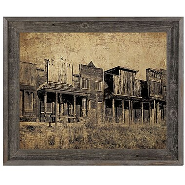 Click Wall Art 'Western Town' Framed Graphic Art; 23.5'' H x 33.5'' W x 1'' D