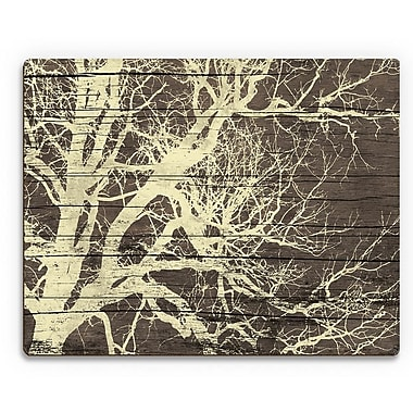 Click Wall Art 'Tree Silhouette on Wood' Graphic Art on Plaque; 16'' H x 20'' W x 1'' D