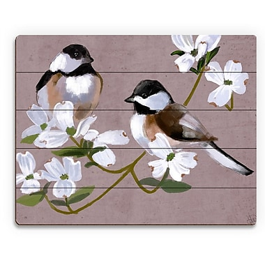 Click Wall Art 'Two Chickadees' Painting Print on Plaque; 20'' H x 24'' W x 1'' D