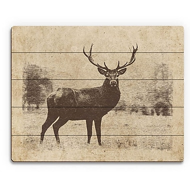 Click Wall Art 'Vintage Buck' Graphic Art on Plaque; 20'' H x 24'' W x 1'' D