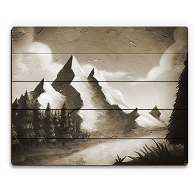 Click Wall Art 'Vintage Mountain by the River' Painting Print on Plaque; 11'' H x 14'' W x 1'' D