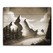 Click Wall Art 'Vintage Mountain by the River' Painting Print on Plaque; 16'' H x 20'' W x 1'' D