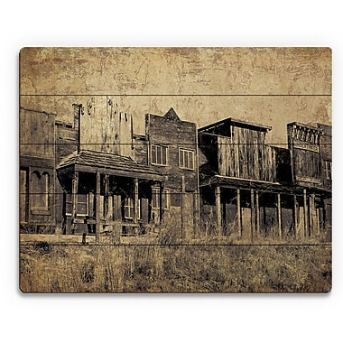 Click Wall Art 'Western Town' Graphic Art on Plaque; 11'' H x 14'' W x 1'' D