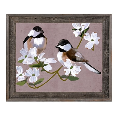 Click Wall Art 'Two Chickadees' Framed Painting Print; 14.5'' H x 17.5'' W x 1'' D