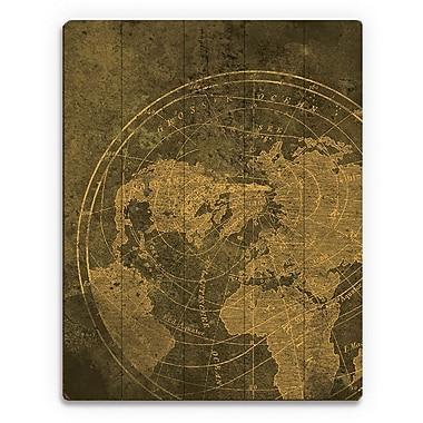 Click Wall Art 'Golden Map' Graphic Art on Plaque; 30'' H x 20'' W x 1'' D