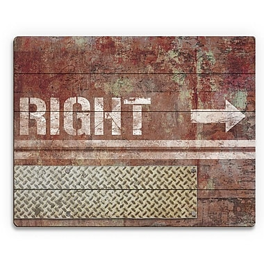 Click Wall Art 'Grungy Rust Right Arrow' Graphic Art on Plaque; 20'' H x 24'' W x 1'' D