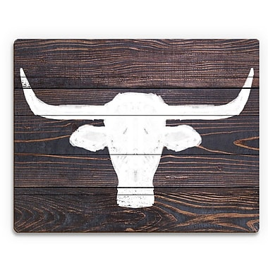Click Wall Art 'Longhorns on Wood' Painting Print on Plaque; 20'' H x 30'' W x 1'' D