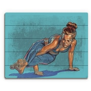 Click Wall Art 'Maggie Yoga Pose' Painting Print on Plaque in Cyan/Steel; 20'' H x 24'' W x 1'' D
