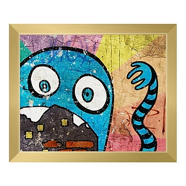Click Wall Art 'Hungry Monster Cerulean' Framed Graphic Art; 19.5'' H x 23.5'' W x 1'' D