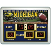 Team Sports America NCAA ScoreBoard Wall Clock w/ Thermometer; Michigan