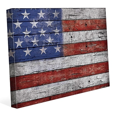 Click Wall Art 'USA Flag Flaked' Graphic Art on Wrapped Canvas; 11'' H x 14'' W x 1.5'' D