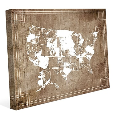 Click Wall Art 'USA Inked' Graphic Art on Wrapped Canvas; 30'' H x 40'' W x 1.5'' D