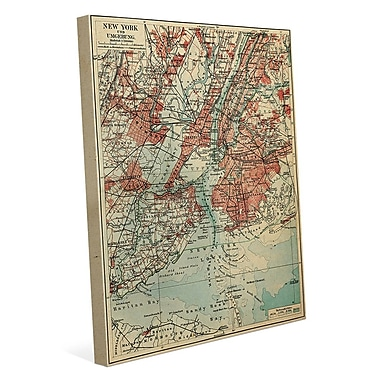 Click Wall Art 'Vintage New York Map' Graphic Art on Wrapped Canvas; 40'' H x 30'' W x 1.5'' D