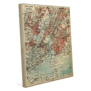 Click Wall Art 'Vintage New York Map' Graphic Art on Wrapped Canvas; 30'' H x 20'' W x 1.5'' D