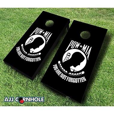 AJJCornhole 10 Piece 'POW MIA' Cornhole Set; Red/Black