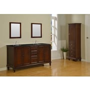 Direct Vanity Sink Classic 70'' Double Bathroom Vanity Set; Black Granite