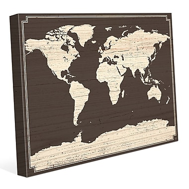 Click Wall Art 'World Map on Dark Wood' Graphic Art on Wrapped Canvas; 24'' H x 36'' W x 1.5'' D
