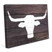 Click Wall Art 'Longhorns on Wood' Painting Print on Wrapped Canvas; 30'' H x 40'' W x 1.5'' D