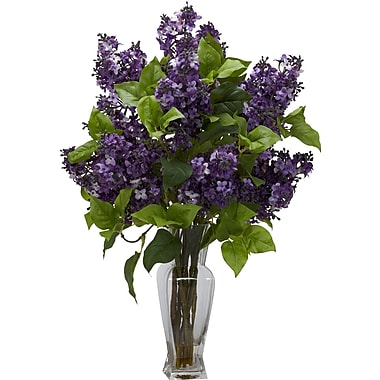 Tori Home Lilac Silk Flower Arrangement w/ Decorative Vase; Purple