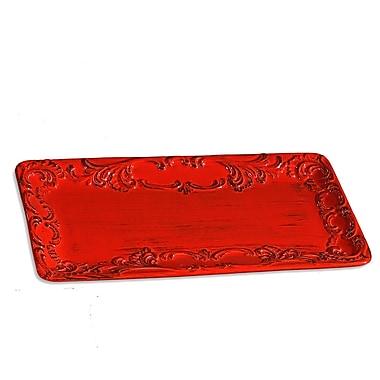 Intrada Baroque Small Rectangular Platter; Red