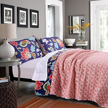 Greenland Home Fashions Phoebe 100pct Cotton Reversible Quilt Set; Twin