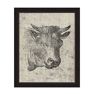Click Wall Art ''Cow Drawing'' Framed Painting Print on Canvas; 22.5'' H x 18.5'' W x 1'' D