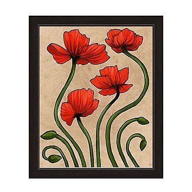 Click Wall Art ''Elegant Poppies'' Framed Painting Print on Canvas; 16.5'' H x 13.5'' W x 1'' D