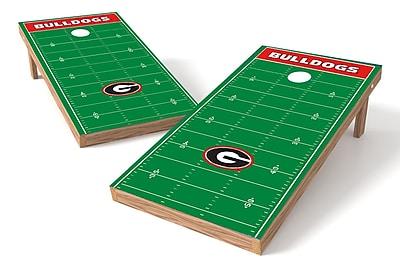 Tailgate Toss NCAA Football Field Cornhole Game Set; Georgia Bulldogs