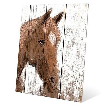 Click Wall Art ''Horse Portrait on Wood'' Painting Print; 14'' H x 11'' W x 0.04'' D