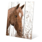 Click Wall Art ''Horse Portrait on Wood'' Painting Print; 20'' H x 16'' W x 1'' D