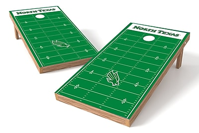 Tailgate Toss NCAA Football Field Cornhole Game Set; North Texas Mean Green