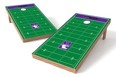 Tailgate Toss NCAA Football Field Cornhole Game Set; Northwestern Wildcats
