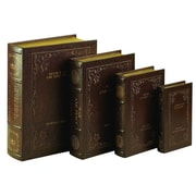 Cole & Grey 4 Piece Wood and Leather Book Set