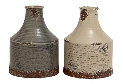 Cole & Grey Ceramic Vase (Set of 2); 12'' H x 9'' W x 9'' D