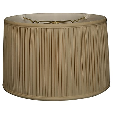 RoyalDesigns Timeless 12'' Silk Drum Lamp Shade; Beige/Gold