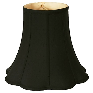 RoyalDesigns Timeless 12'' Silk Bell Lamp Shade; Black