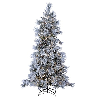 Sterling Inc 7' Green Pine Artificial Christmas Tree w/ 450 LED Cool White Lights and Snowy Branches WYF078279412117