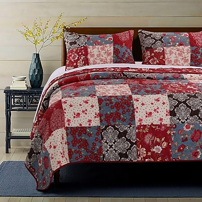 Greenland Home Fashions Nicole Reversible Quilt Set; Full/Queen