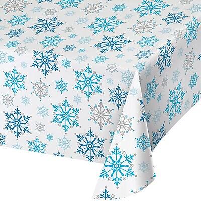 Creative Converting Snowflake Swirls Plastic Tablecloth (317151)