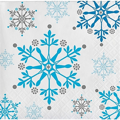 Creative Converting Snowflake Swirls Beverage Napkins, 16 pack (317147)