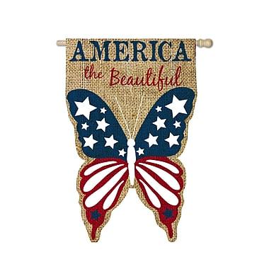 Evergreen Enterprises, Inc Erich Patriotic Burlap America the Beautiful 2-Sided Garden Flag