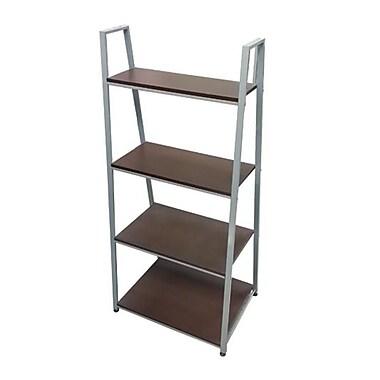 FuTECH – Étagère à 4 niveaux en bois, cadre argenté, tablettes en chêne (5434)