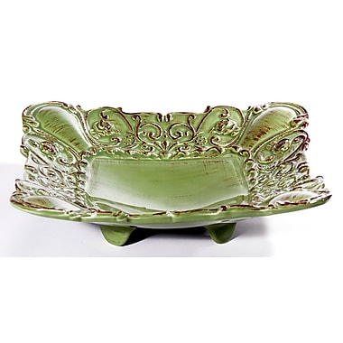 Intrada Baroque Square Footed Shallow Bowl (Set of 2); Green